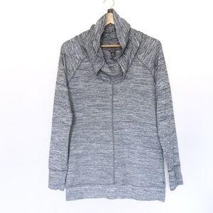 Eddie Bauer cowl neck, long sleeve knit grey top.
